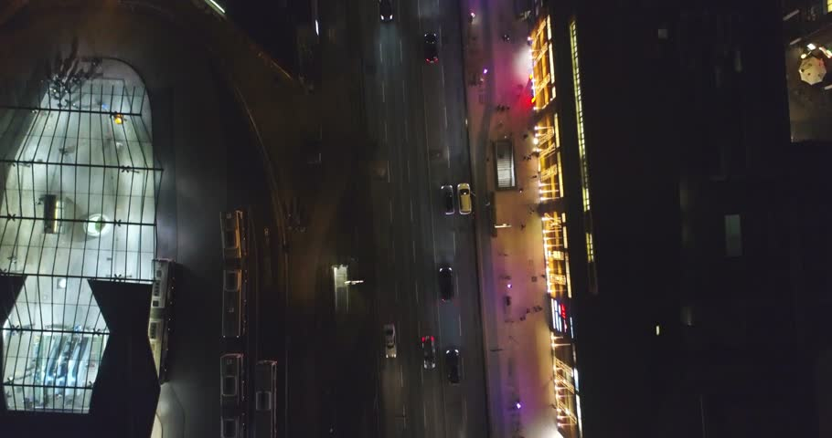 Aerial view of Hamburg at night, Germany. Christmas time. Wandsbek station. City traffic. Christmas decorations. Aerial footage. Night.