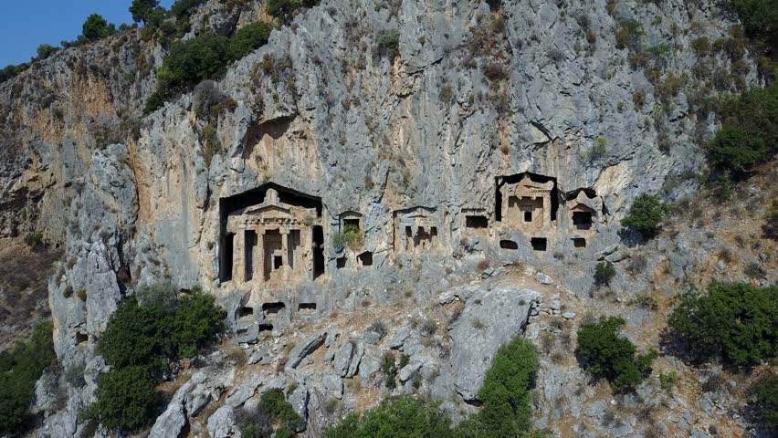 Royal tombs in Dalyan Bodrum Mugla Turkey