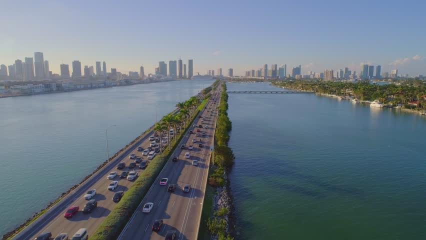 Macarthur Causeway Miami Beach drone aerial flyover 4k traffic cam | Shutterstock HD Video #34381969