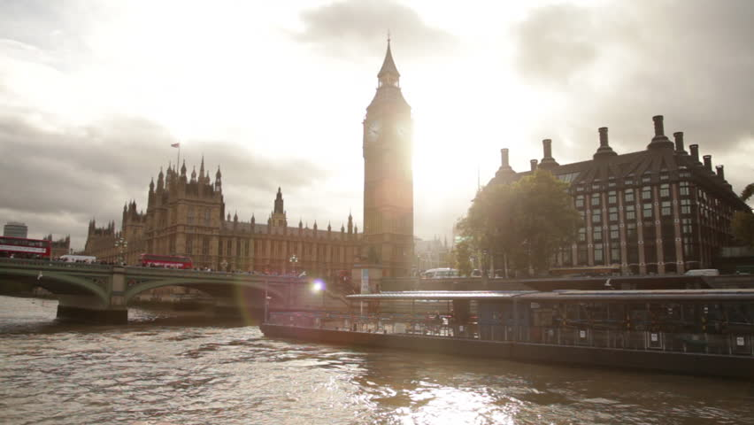 Sun Glare behind Big Ben and Westminster palace in London, England. | Shutterstock HD Video #3438425