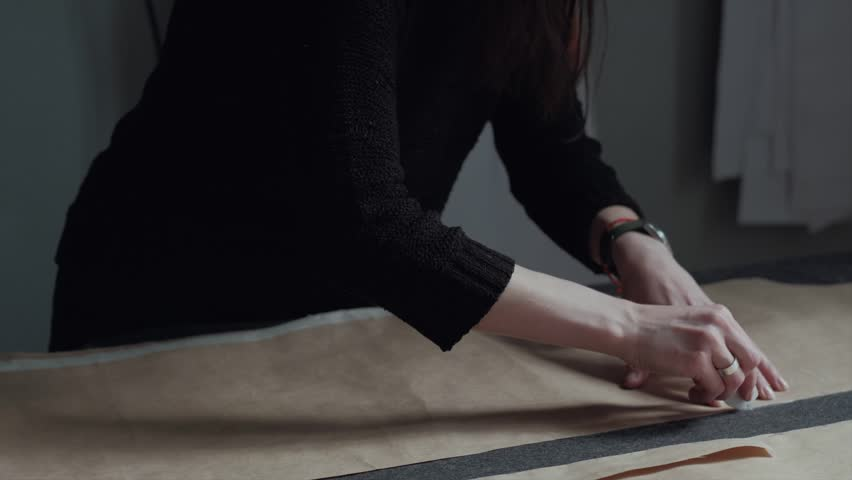 Fashion Designer Creates Clothes in Workshop, Draws With Chalk on the Fabric #34385716