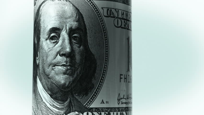 Benjamin franklin. The symbol of the American economy and the world financial system based on the US dollar. Smooth rotation. | Shutterstock HD Video #34390750