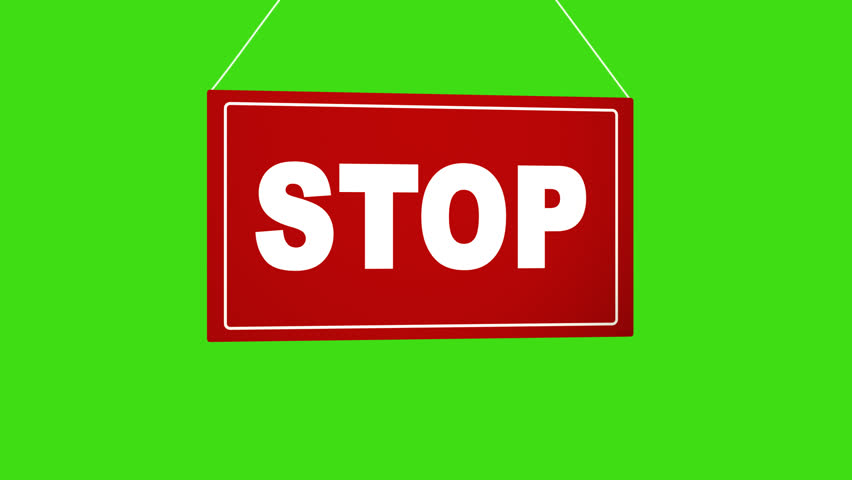 A business sign that says STOP Alpha channel keyed green screen. | Shutterstock HD Video #34393933