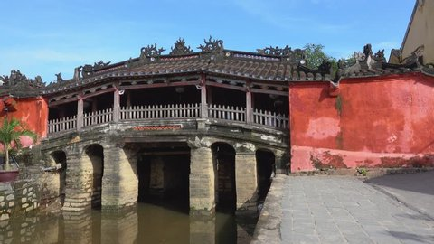 """Quang Nam, Vietnam - NOV 2017: The Japanese Covered Bridge in Hoi An is one of the famous tourist attractions in Hoi An, Vietnam. The original Vietnamese name of this bridge is """"Lai Vien Kieu"""""""