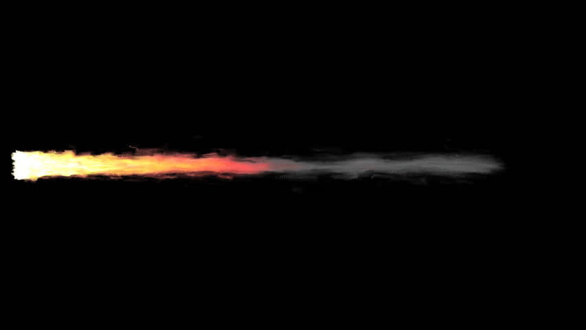 Animated realistic exhaust flame with smoke of rocket, jet engine or other propulsion burning solid fuel. Longer tail and high speed. Isolated on transparent background. | Shutterstock HD Video #34403074