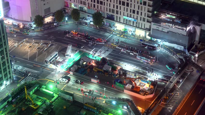Aerial view of a bus terminal in Shibuya, Tokyo, Japan #34405066
