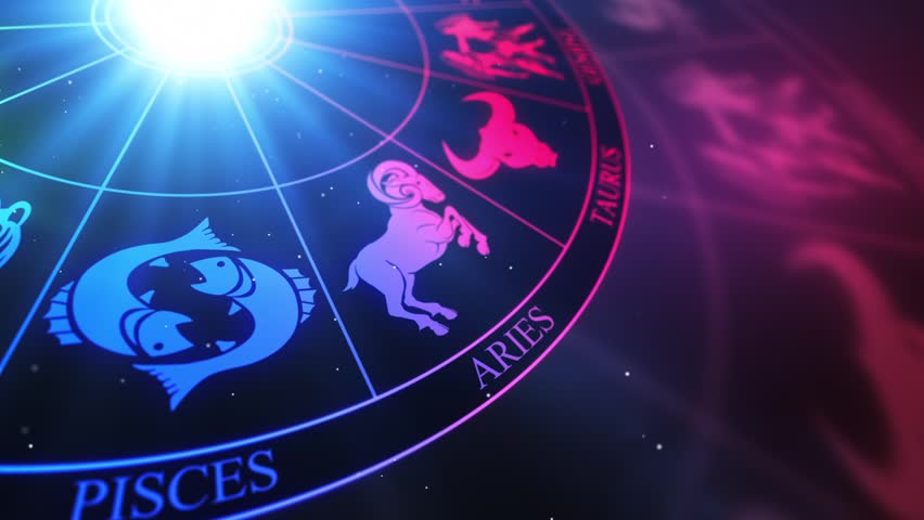 Zodiac Horoscope Astrological Sun Signs On a Spinning Wheel or Chakra | Seamless Looping Animated Motion Background Colorful Multicolored