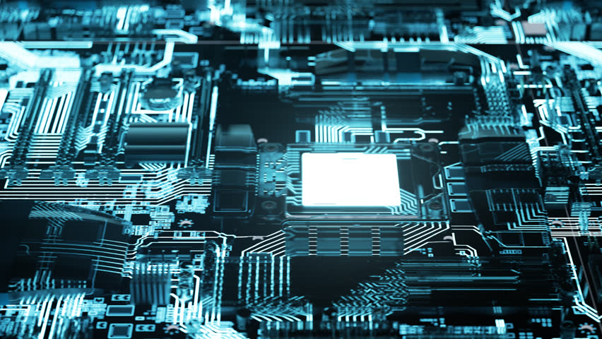 03065 camera moving sideways above the illuminated endless motherboard Royalty-Free Stock Footage #34435867