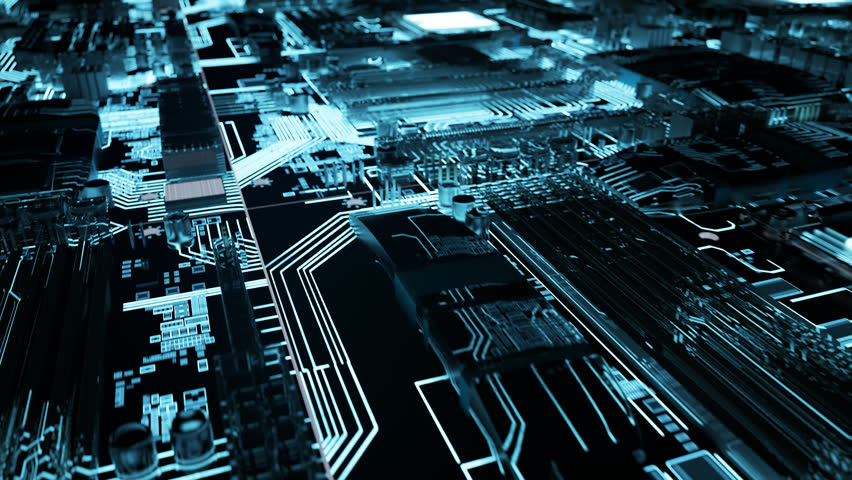 03063 camera moving forward above the illuminated endless motherboard Royalty-Free Stock Footage #34435876