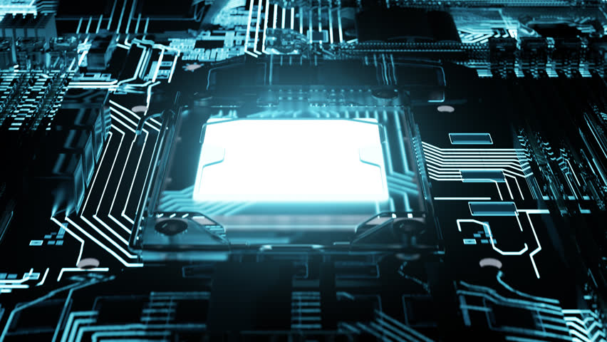 03064 camera moving forward above the illuminated endless motherboard Royalty-Free Stock Footage #34435879