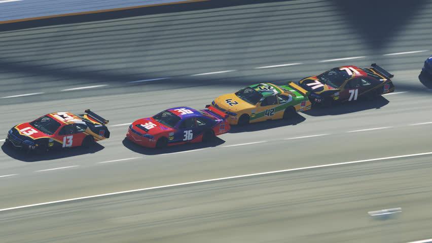 03081 Animation of speeding race cars on curve racetrack. Camera follows one car.