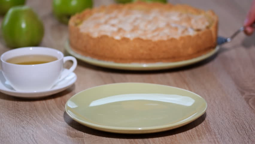 Put a slice homemade Apple pie in a bowl