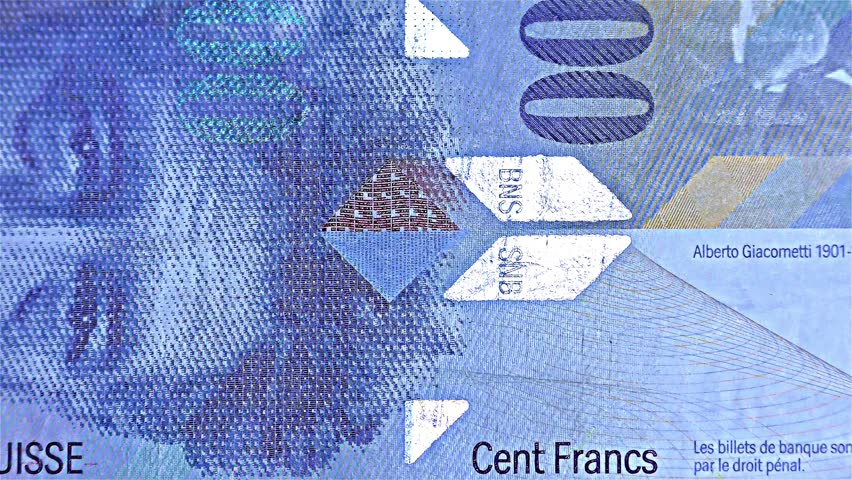 Swiss Money – 100 CHF, Cent Francs  - iridescent stripe banknote – holographic stripe, detail | Shutterstock HD Video #34442272