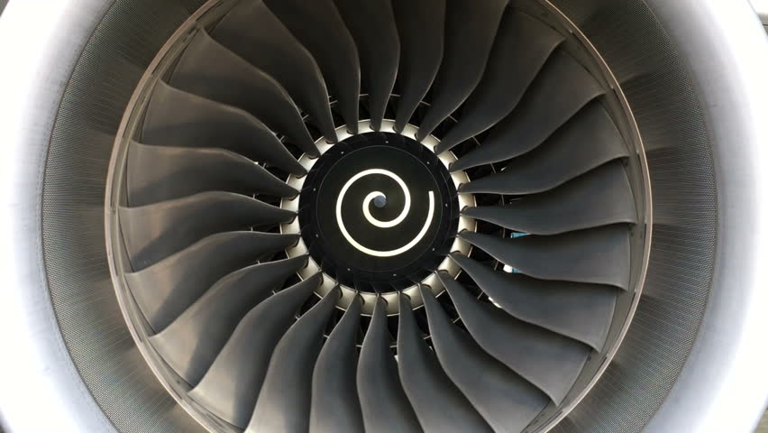 Jet turbine engine of aircraft,aviation and airplane industrial.Blades of engine rotating,transportation.