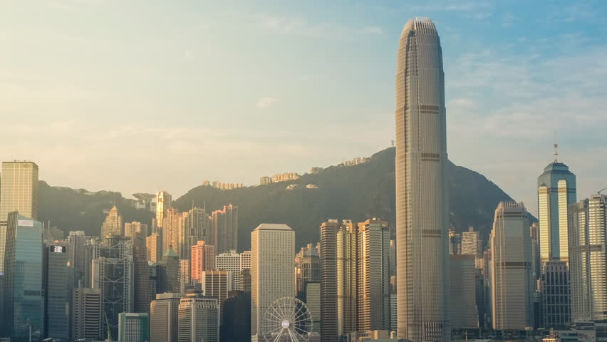 Cityscape view TimeLapse 4K Hong Kong Victoria Harbour at sunrise   Shutterstock HD Video #34485514