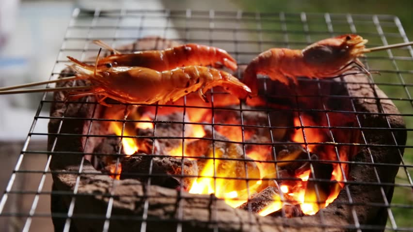 Prawns grilled on charcoal stove   Shutterstock HD Video #34486066