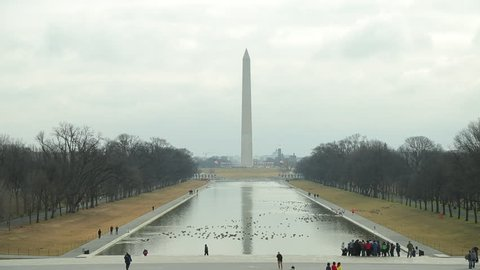 WASHINGTON DC - CIRCA FEBRUARY 2013: Washington Monument and the pond