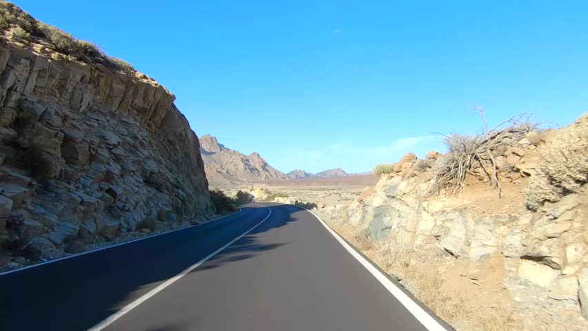 Vehicle point-of-view driving, Teide National Park, Tenerife, Canary Islands, Spain.