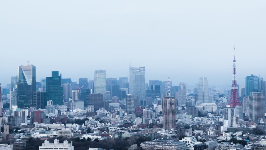 Time-lapse movie of evening city skyline. Tokyo, Japan.