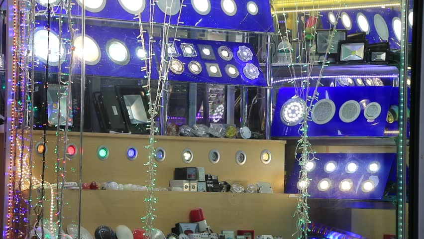 Shop window with different lighting lamps | Shutterstock HD Video #34564483
