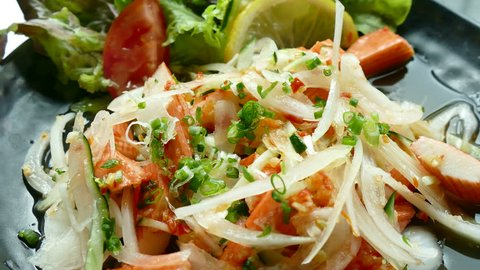 Spicy crab stick salad