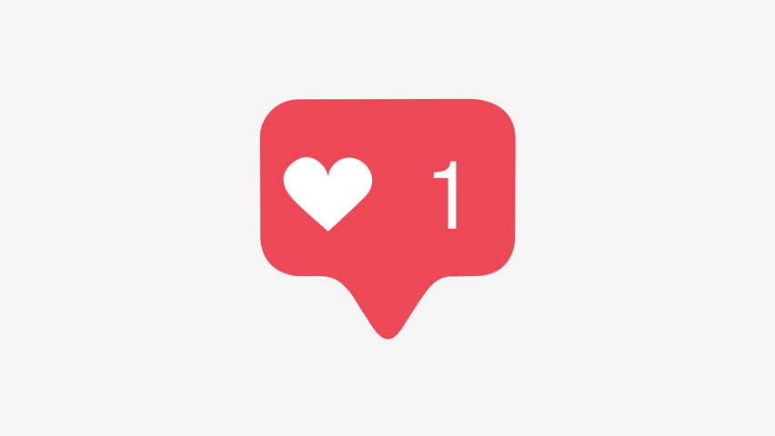4K Animation of a social media heart icon increasing in likes over time as on Facebook or Twitter, includes alpha channel