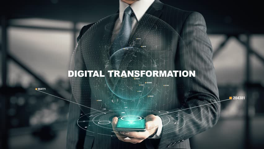 Businessman with Digital Transformation hologram concept Royalty-Free Stock Footage #34584991