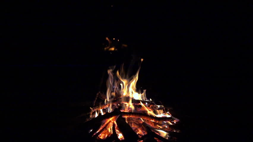 Burning fire at night, campfire bonfire 240 fps (8x) slow motion, hd 1080p video footage | Shutterstock HD Video #34603249