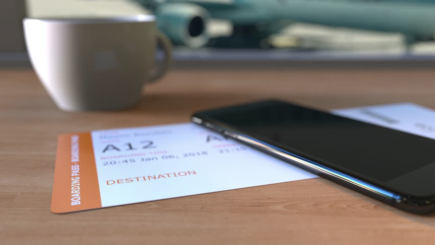 Boarding pass to Las Vegas and smartphone on the table in airport. Travelling to the United States conceptual animation | Shutterstock HD Video #34623490