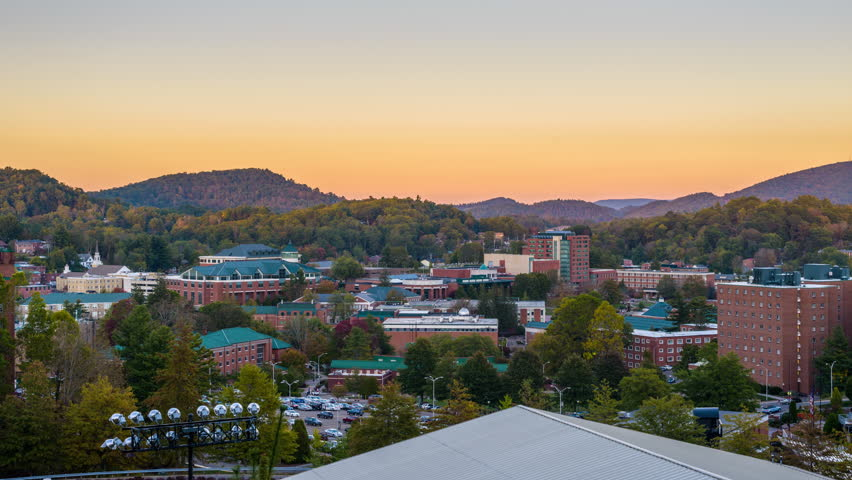 Boone, North Carolina, USA campus and town skyline.