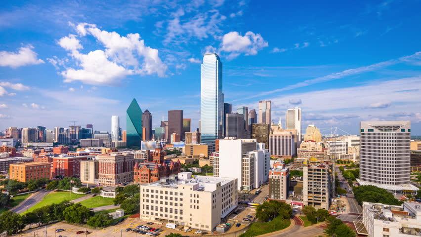Dallas, Texas, USA downtown skyline time lapse.