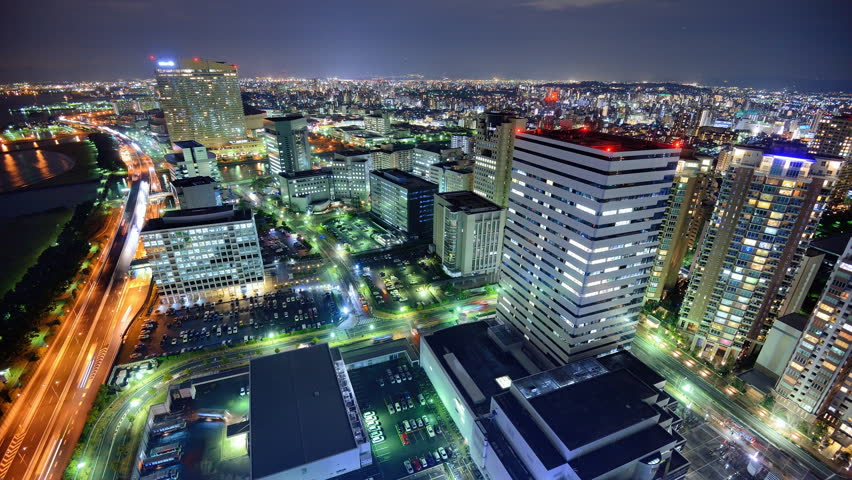 Fukuoka, Japan time lapse at night.
