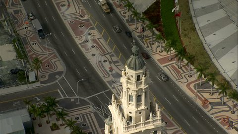 Miami USA - September 2017: Aerial overhead view of Freedom Tower Cuban immigration historic Landmark downtown Miami Florida