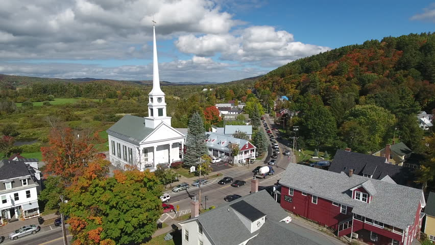Stunning aerial view of the main street of Stowe. Vermont. USA