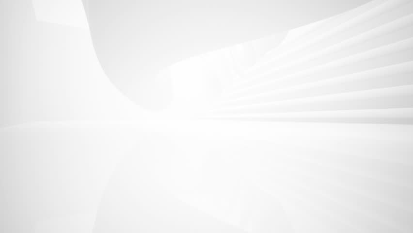 White smooth abstract architectural background. 3D animation and rendering  #34664716