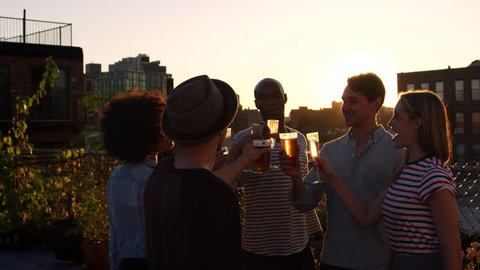 Young adult friends making a toast on a rooftop at sundown