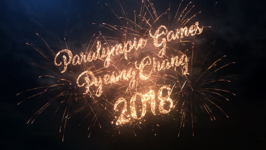 Winter Paralympic Games 2018 in South Korea in PyeongChang greeting text and logo with particles and sparks on night sky with slow motion fireworks, beautiful magic typography desing. | Shutterstock HD Video #34676473