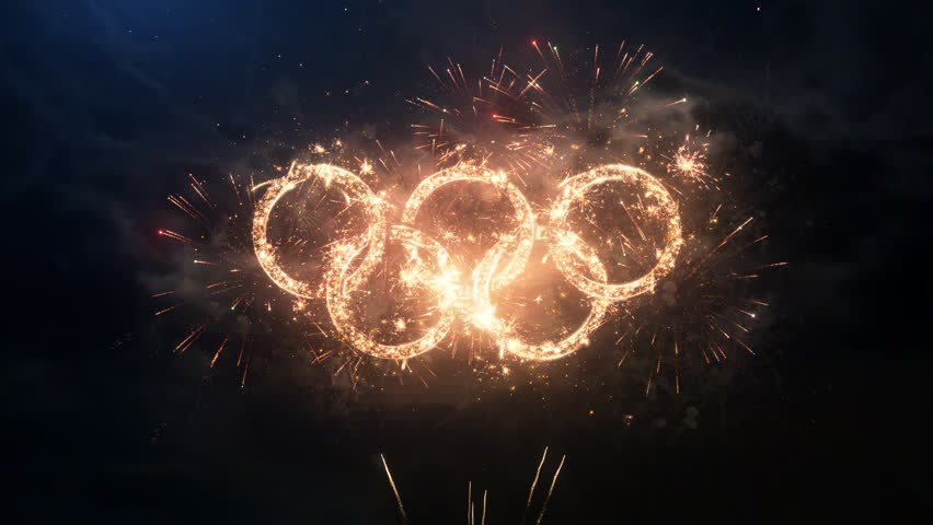 SOUTH KOREA PYEONGCHANG FEBRUARY 2018: Winter Olympic Games greeting rings logo with particles and sparks on night sky with slow motion fireworks, magic typography desing, editorial animation.