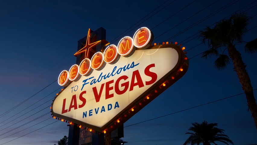 High quality video of welcome to fabulous Las Vegas Sign at night in 4K