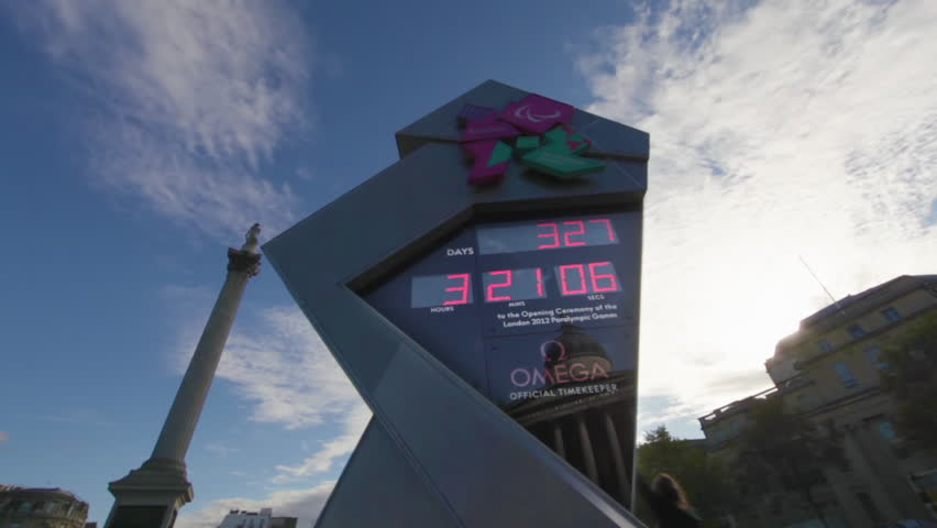 LONDON - OCTOBER 7, 2011: Time lapse shot of an Olympic countdown sign at Trafalgar Square in London, England.