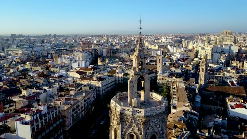 Epic Valencia Spain aerial footage slowly panning around the Miguelet Bell Tower. | Shutterstock HD Video #34690060