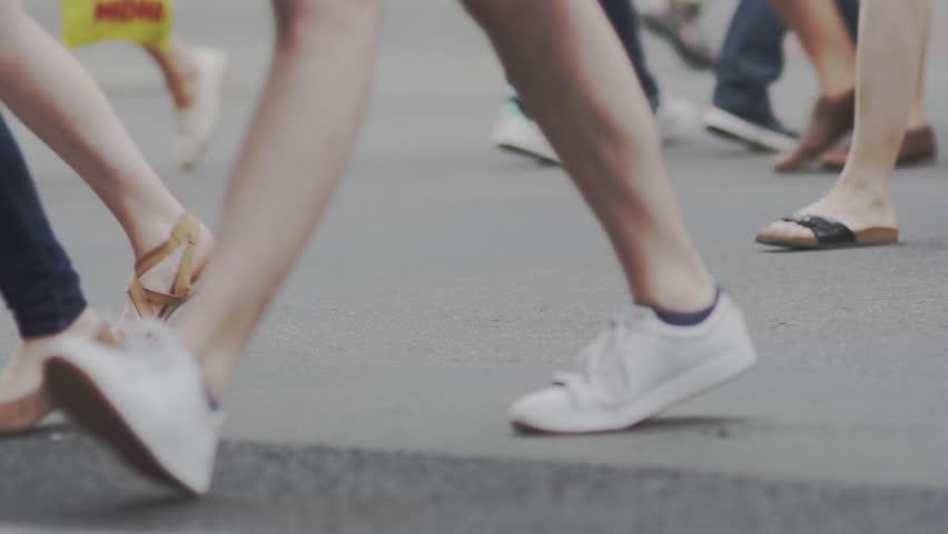 Slow Motion Shot Of People's Feet Crossing A Street In Berlin In Summer. | Shutterstock HD Video #34717771