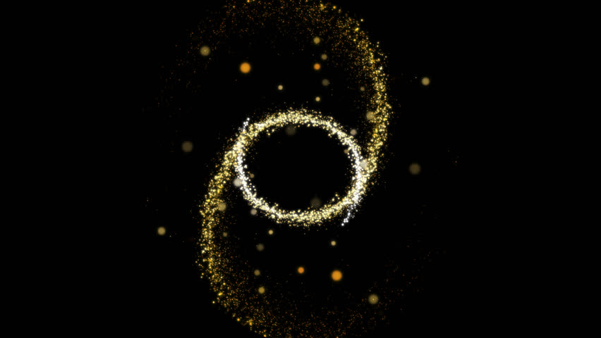Alpha channel. Gold sparks fly in a spirally and explode in the center. There is a bokeh effect and salute. Can be used for intro and for effect appearance of text