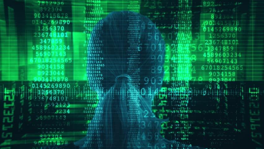 Stream Data Code Woman. Woman head In Source Code Illustration. Shot behind model shoulders.   Shutterstock HD Video #34747903