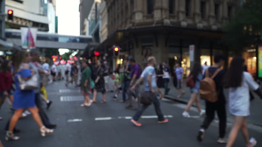 Sydney, Australia, 25 Nov 2017 unrecognized crowd walking in busy shopping street, generic group of people walk in urban city