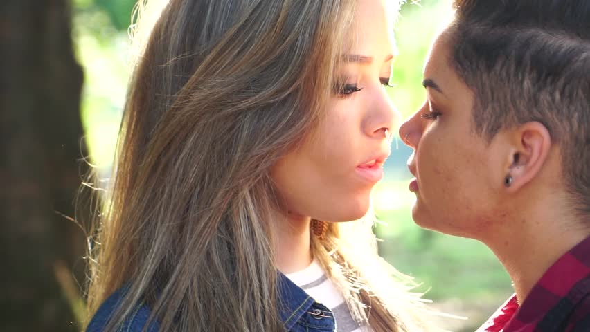 Romantic Lesbian Couple Kissing On Stock Footage Video