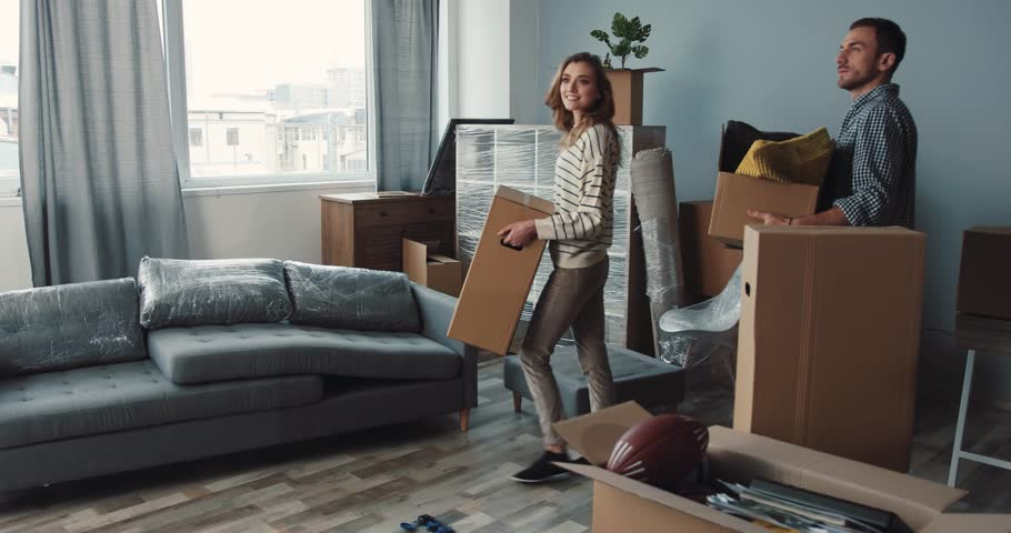 Man and woman bringing boxes into room. Young people calling dog to themselves, stroking, playing. Spaniel adoring owners. | Shutterstock HD Video #34760683