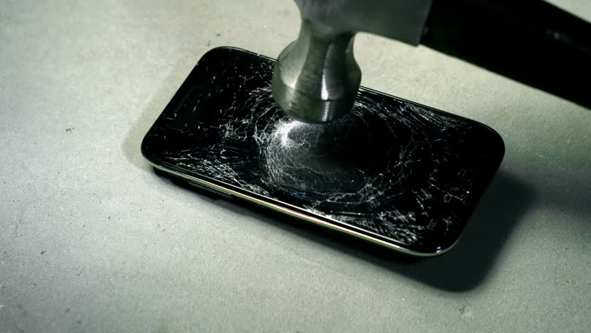 Cell Phone Screen Cracked By Hammer Slow Motion 2000fps | Shutterstock HD Video #34764655