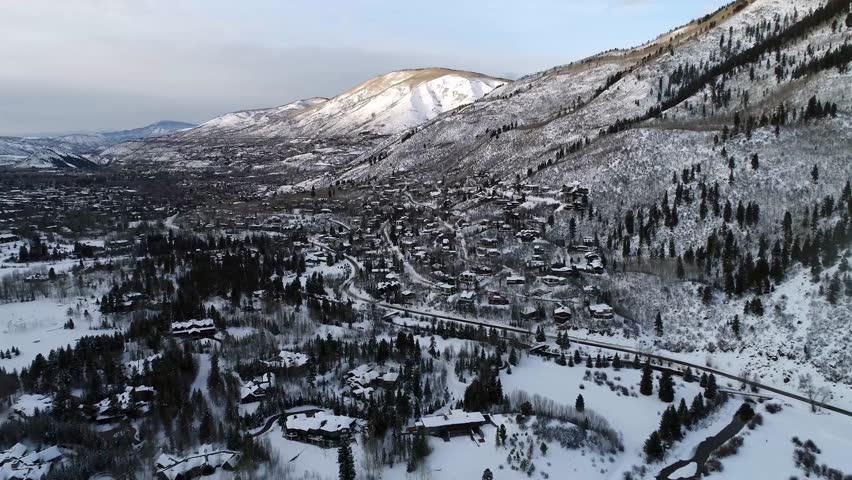 Aerial View Living in the Snow near Aspen Colorado