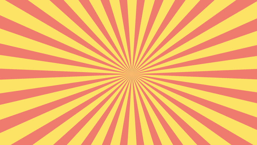 Red and yellow sunburst circle and background pattern animation.Colored back Pop Art Style yellow background motion video. comic text bubble backdrop line space.